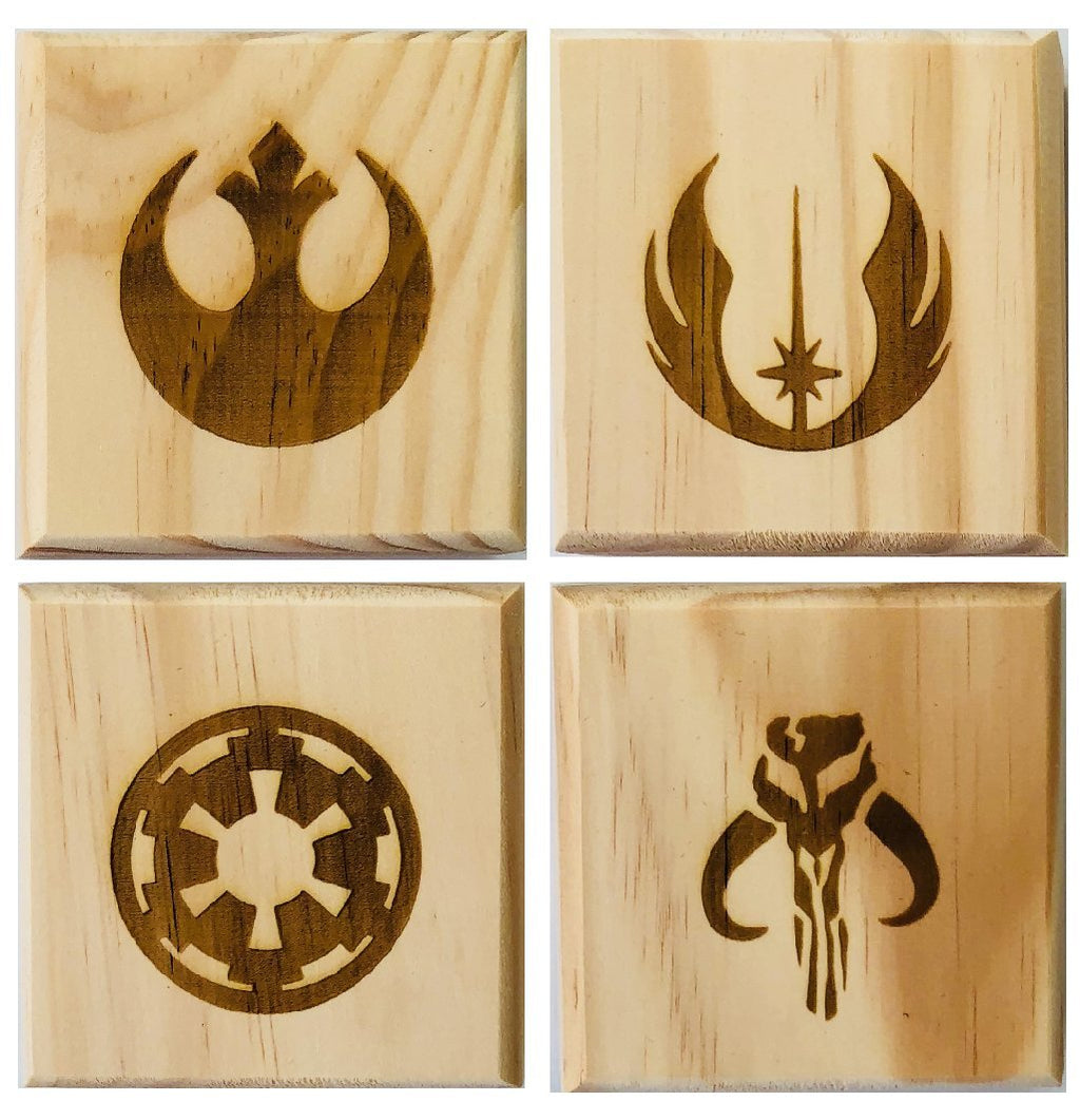 SW Coasters Permanent Engraved Gift Set of 4 Wood Coasters