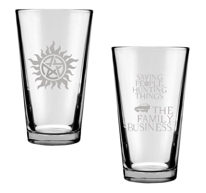 Anti-Possession and Hunting People Saving Things Engraved Drinking Glass Set of 2