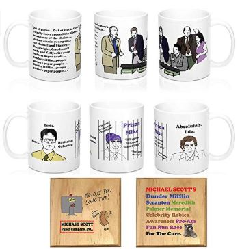 Michael Scott Mug and Paper Company Mug and Coaster Set of 4: The People Person's Paper People, Prison Mike, Dwight, Jim,Fun Run Race