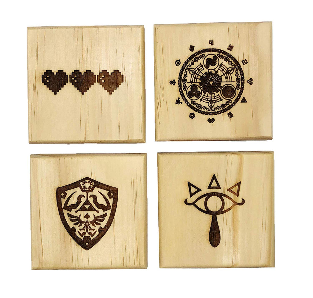 Zelda Drink Coasters - Gift Set of Four Engraved Real Wood Coasters: Eye Symbol, Gate of Time, Hylian Shield, 8 Bit Hearts (Gamer gift)