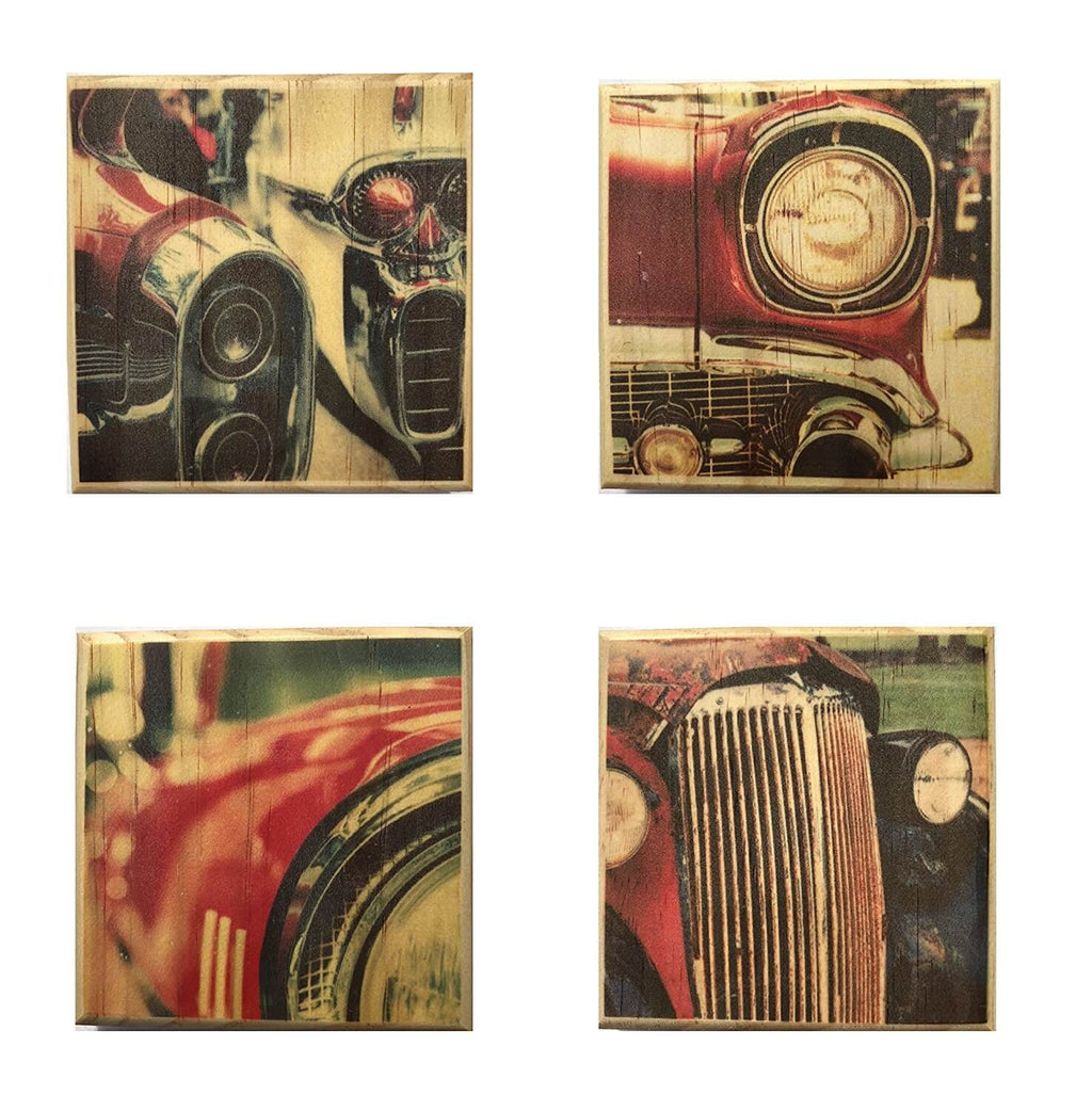 Antique Car Coasters (By Brindle Southern) Vintage Car Wooden Coaster Set