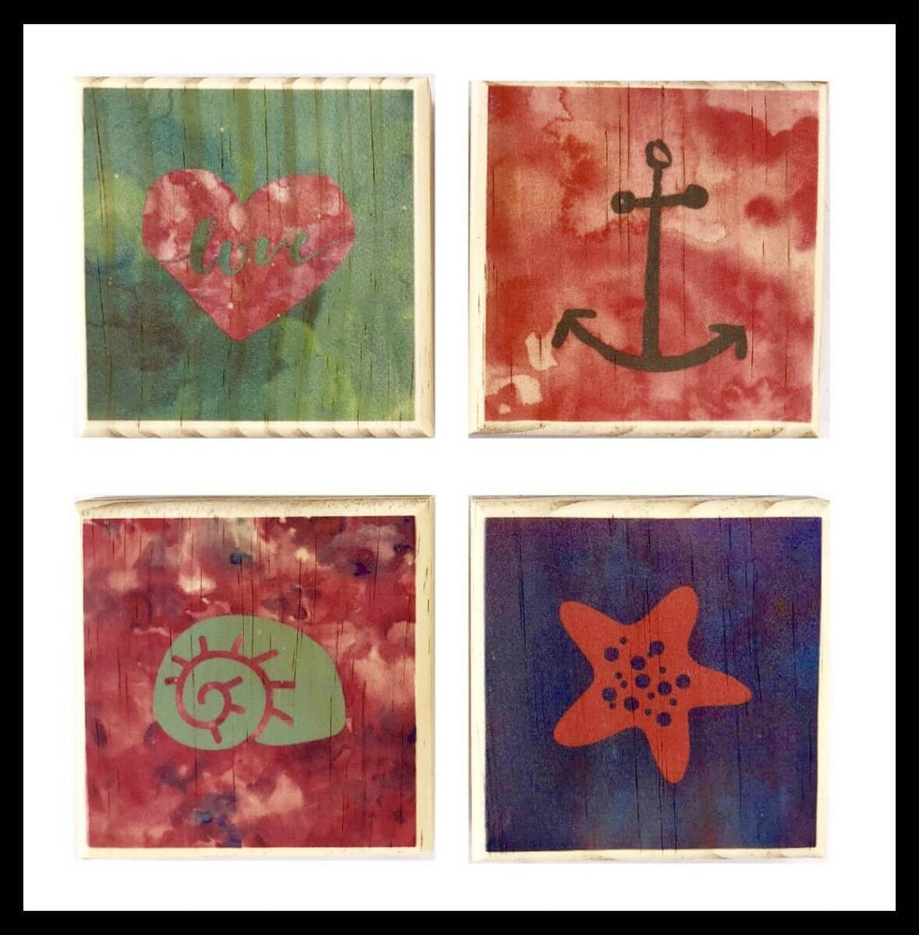 Beach House Coasters: Anchor, Starfish, Watercolor Love, Sea Shell Wooden Coaster Set