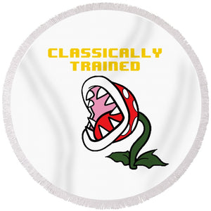 Classically Trained, Classic 8 Bit Entertainment System Characters. Babies From The 80's.  - Round Beach Towel