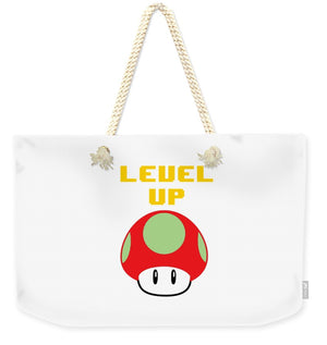 Level Up Mushroom, Classic 8 Bit Entertainment System Characters. Babies From The 80's.  - Weekender Tote Bag