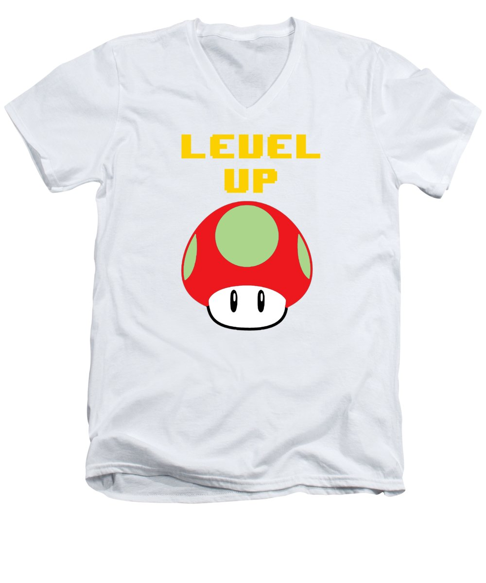 Level Up Mushroom, Classic 8 Bit Entertainment System Characters. Babies From The 80's.  - Men's V-Neck T-Shirt