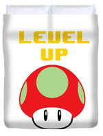 Level Up Mushroom, Classic 8 Bit Entertainment System Characters. Babies From The 80's.  - Duvet Cover