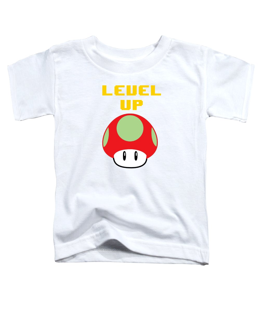 Level Up Mushroom, Classic 8 Bit Entertainment System Characters. Babies From The 80's.  - Toddler T-Shirt