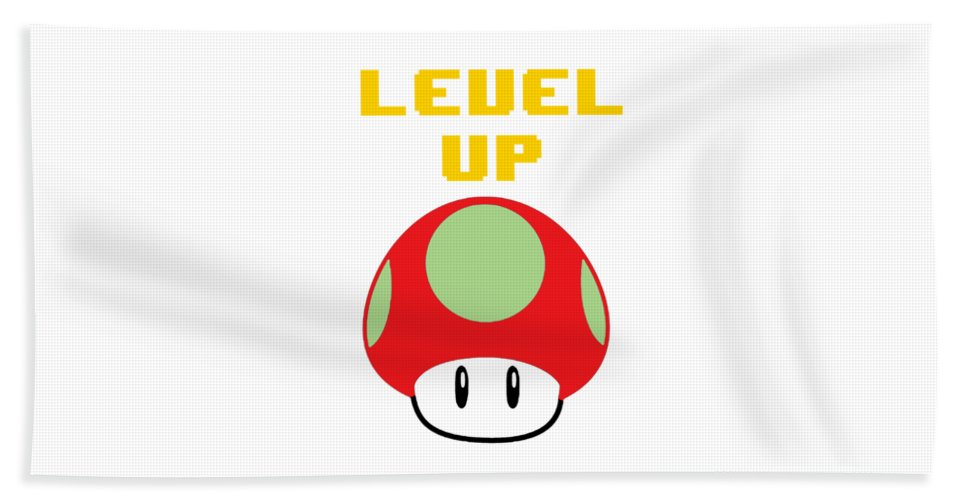 Level Up Mushroom, Classic 8 Bit Entertainment System Characters. Babies From The 80's.  - Beach Towel