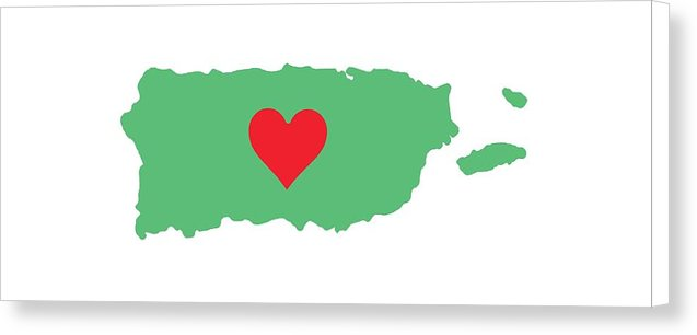 Puerto Rico Map With Heart In It. Mapa De Puerto Rico Con Corazon En El. - Canvas Print