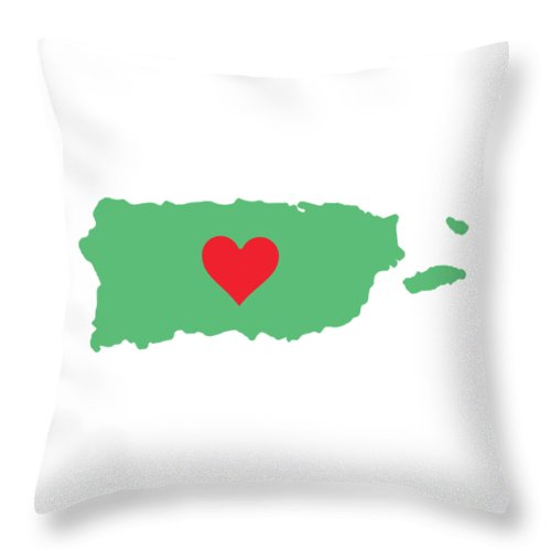 Puerto Rico Map With Heart In It. Mapa De Puerto Rico Con Corazon En El. - Throw Pillow