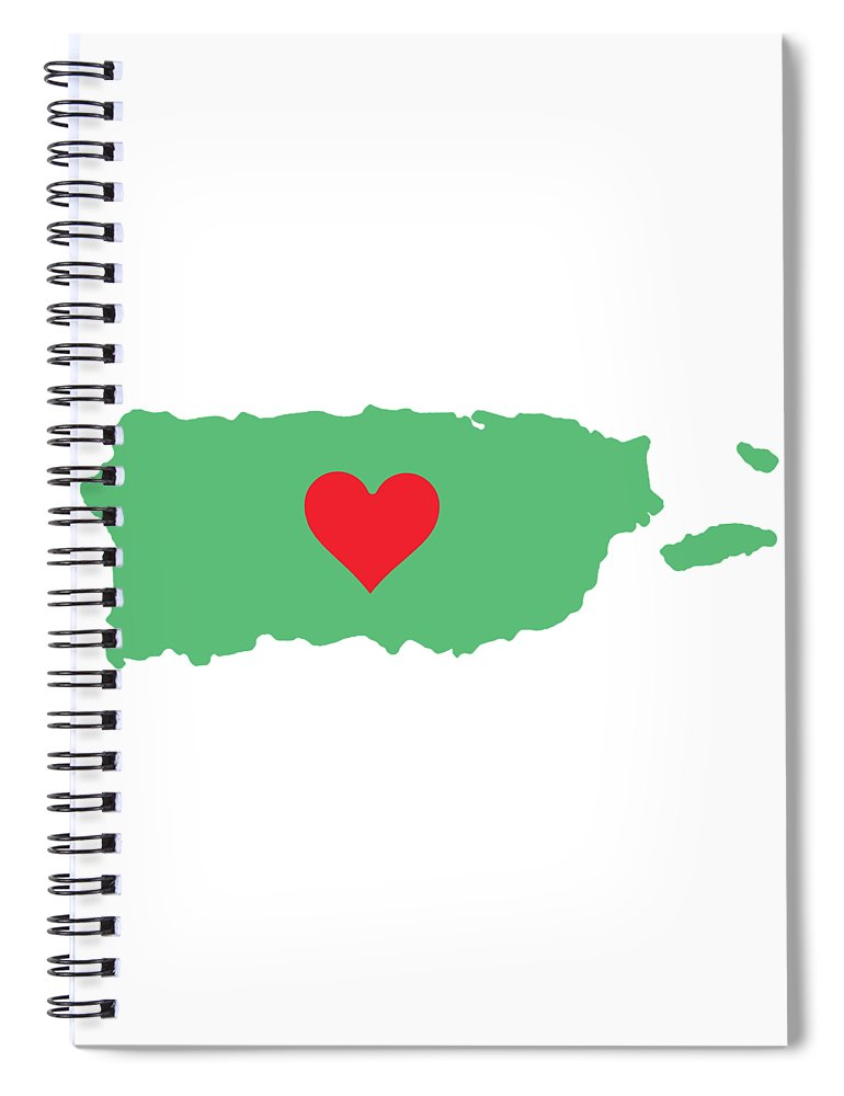 Puerto Rico Map With Heart In It. Mapa De Puerto Rico Con Corazon En El. - Spiral Notebook