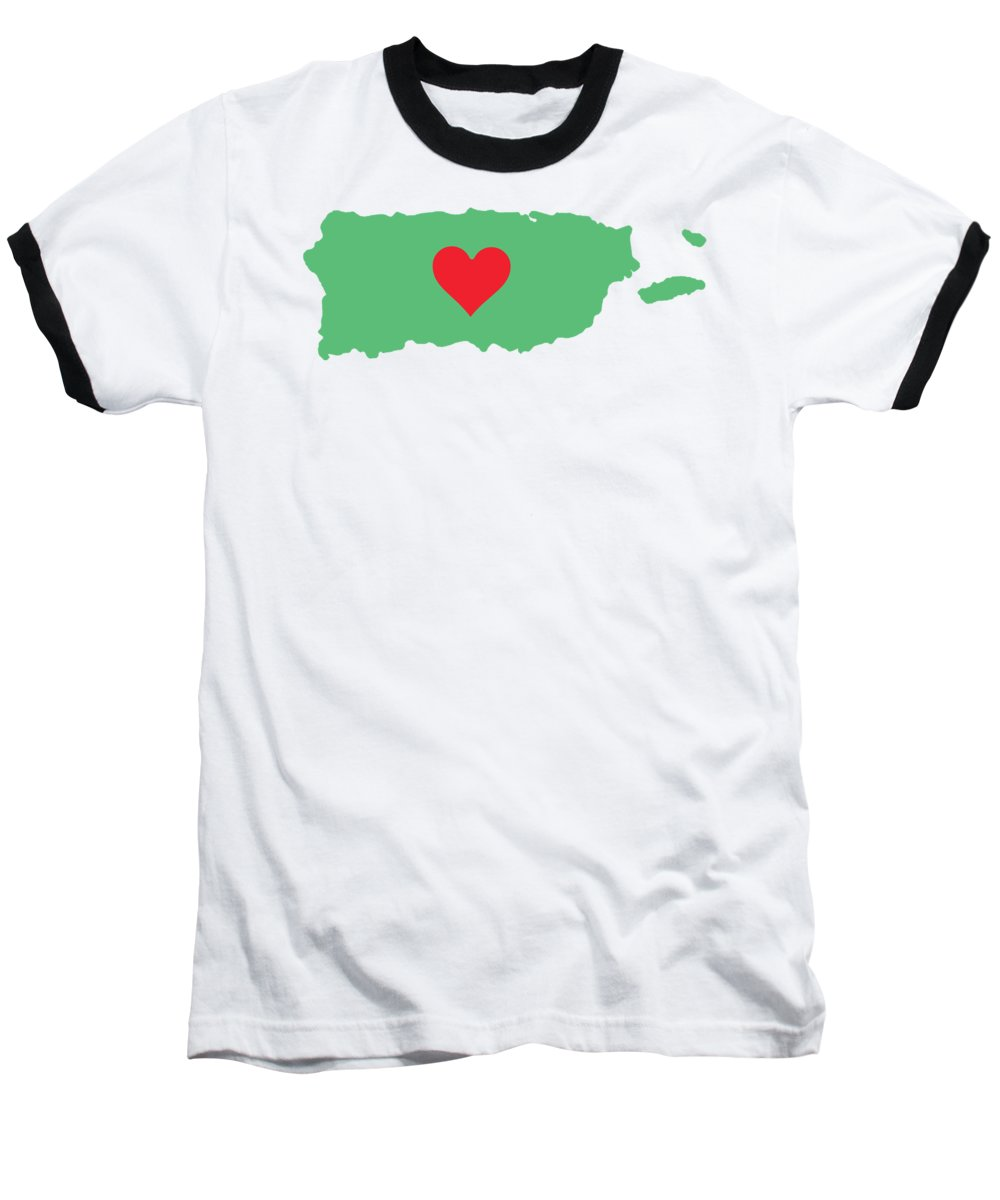Puerto Rico Map With Heart In It. Mapa De Puerto Rico Con Corazon En El. - Baseball T-Shirt
