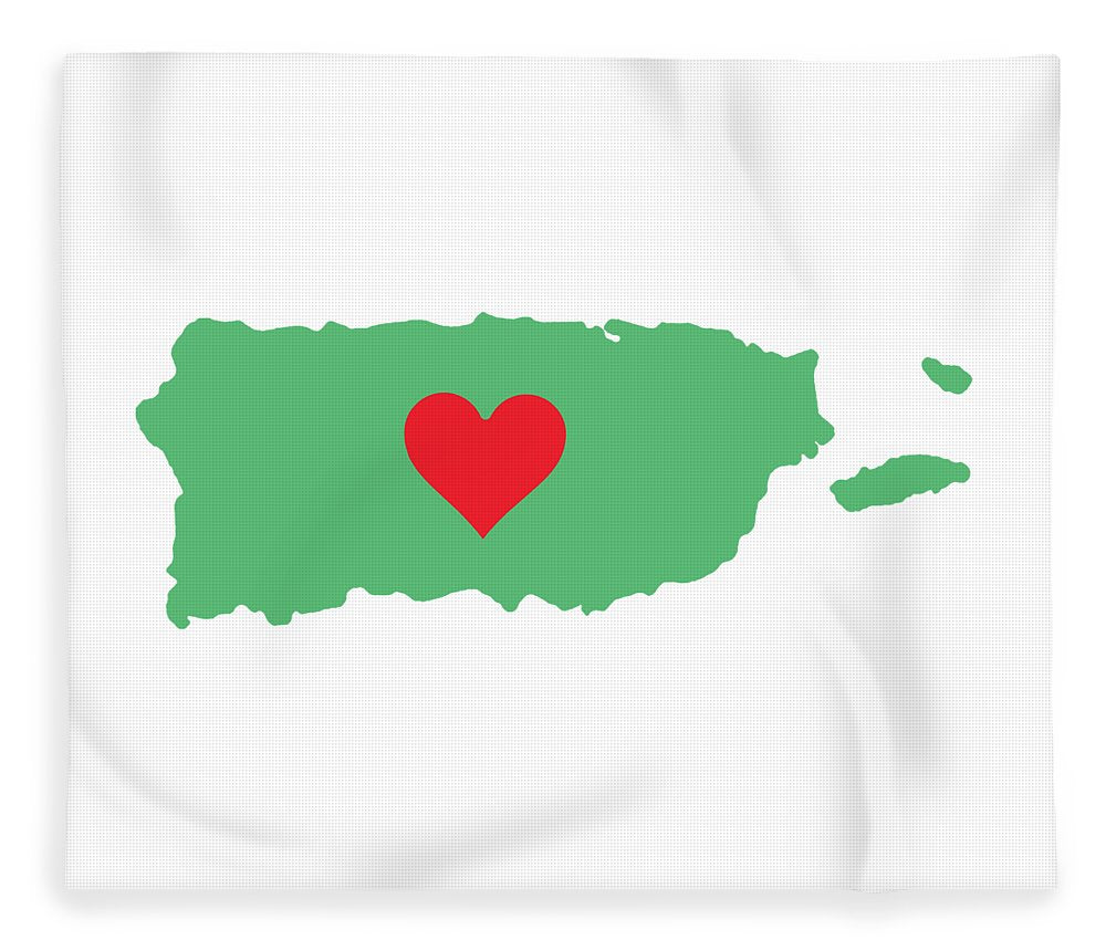 Puerto Rico Map With Heart In It. Mapa De Puerto Rico Con Corazon En El. - Blanket