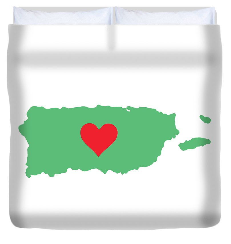 Puerto Rico Map With Heart In It. Mapa De Puerto Rico Con Corazon En El. - Duvet Cover