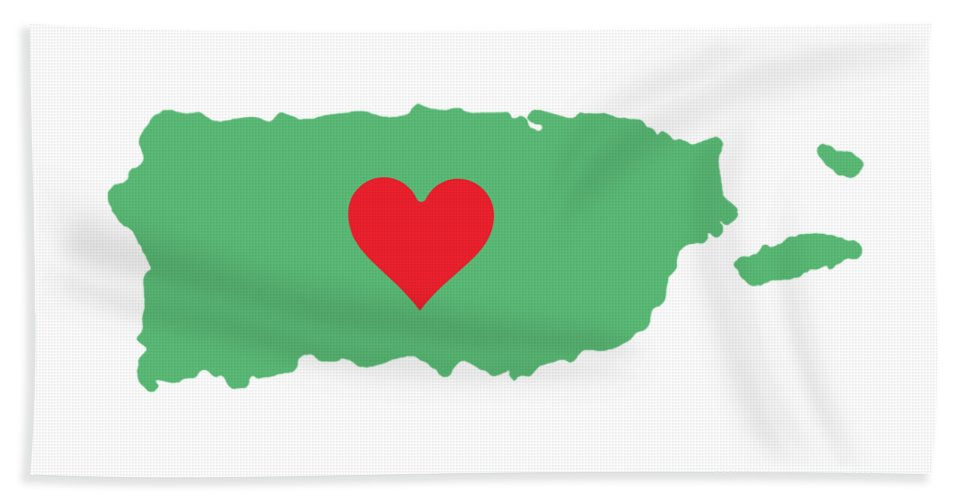 Puerto Rico Map With Heart In It. Mapa De Puerto Rico Con Corazon En El. - Beach Towel