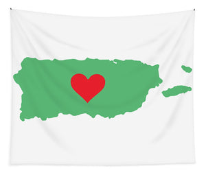 Puerto Rico Map With Heart In It. Mapa De Puerto Rico Con Corazon En El. - Tapestry