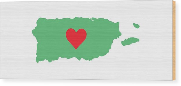 Puerto Rico Map With Heart In It. Mapa De Puerto Rico Con Corazon En El. - Wood Print