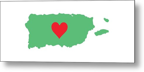 Puerto Rico Map With Heart In It. Mapa De Puerto Rico Con Corazon En El. - Metal Print