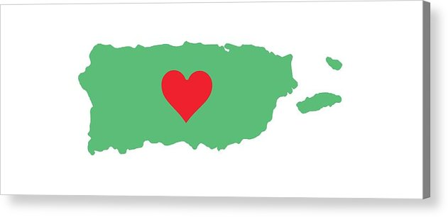Puerto Rico Map With Heart In It. Mapa De Puerto Rico Con Corazon En El. - Acrylic Print