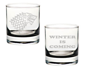 Stark Rocks Glass Set of Two - Winter Is Coming