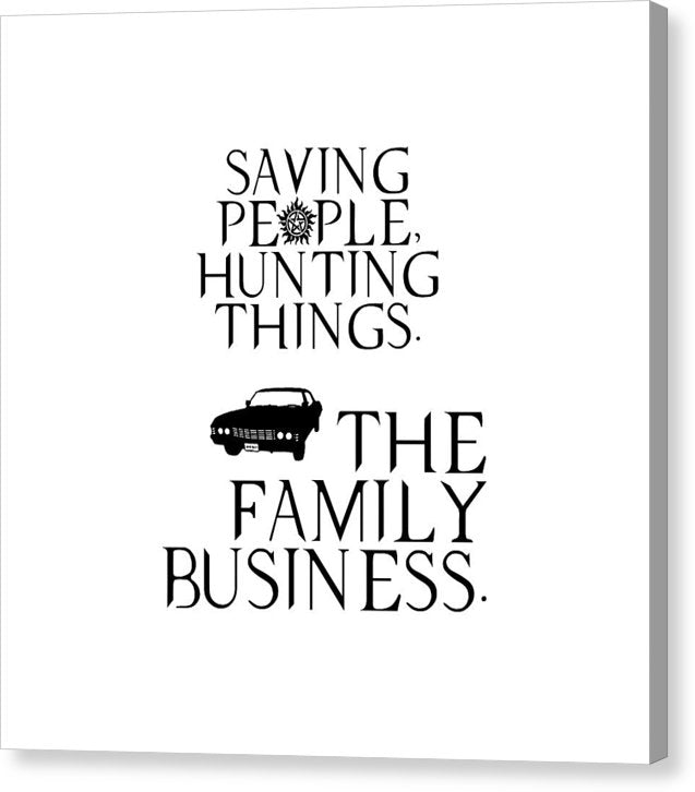 Supernatural Saving People, Hunting Things. The Family Business With Anti Possession Symbol. - Canvas Print