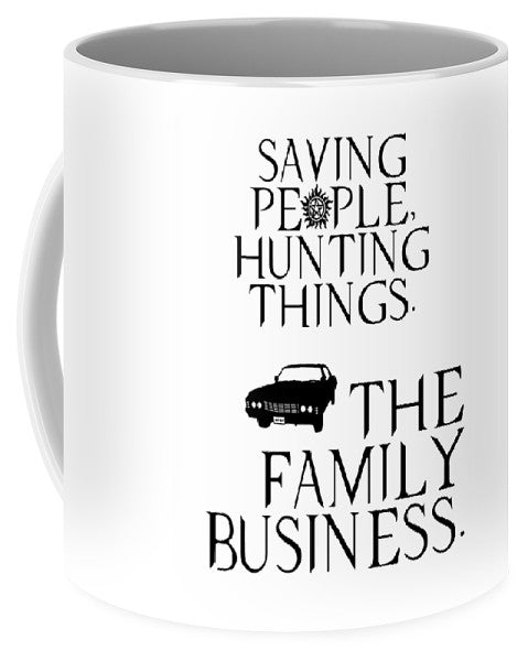 Supernatural Saving People, Hunting Things. The Family Business With Anti Possession Symbol. - Mug