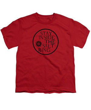 Supernatural Stay Inside The Salt Ring With Anti Possession Symbol - Youth T-Shirt