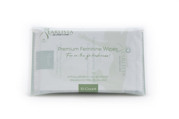 Pearlista Premium Feminine Wipes - single bag with 10 wipes.