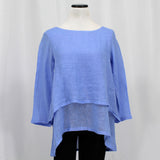 Crown Linen Double Layer Top - Periwinkle / XS - beyondcotton.myshopify.com