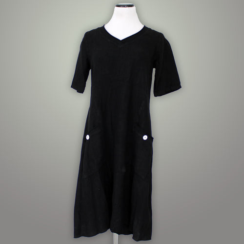 Fenini Linen V Neck Dress - [variant_title] - beyondcotton.myshopify.com