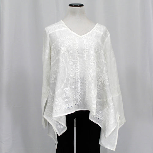 Crown Linen Embroidered Top - [variant_title] - beyondcotton.myshopify.com