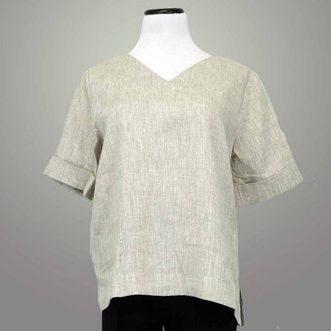 Jane Crown Linen V Neck Tee - [variant_title] - beyondcotton.myshopify.com