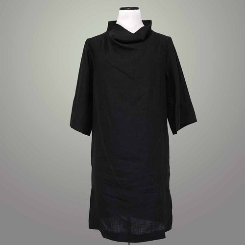 Jackie Crown Linen Draped Neck Dress