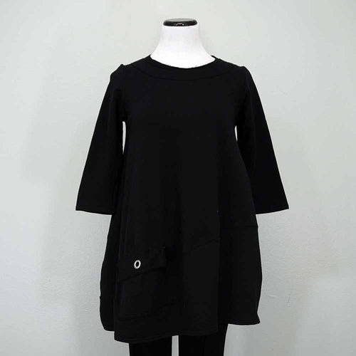 Breakfast in Tokyo Shaped Tunic - Black / 3 - beyondcotton.myshopify.com