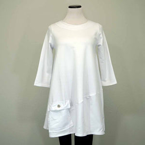 Breakfast in Tokyo Shaped Tunic - White / 1 - beyondcotton.myshopify.com
