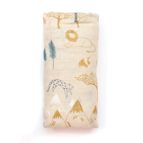 Bamboo Muslin Swaddle- Mountain Safari