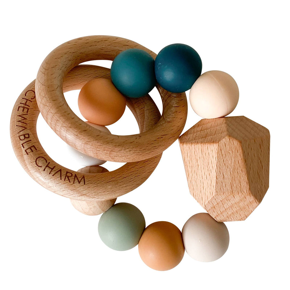 Silicone + Wood Teething Ring - Color Wave