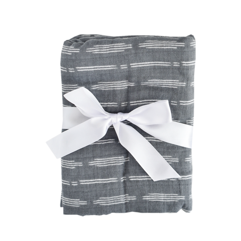 Soft Dusty Blue Baby Swaddle with Bow