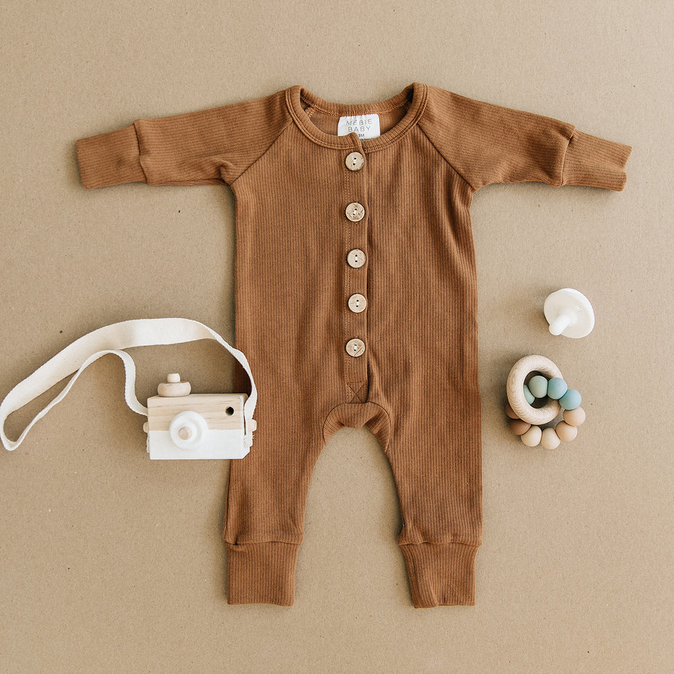 Soft Cotton Newborn Romper with Wooden Buttons