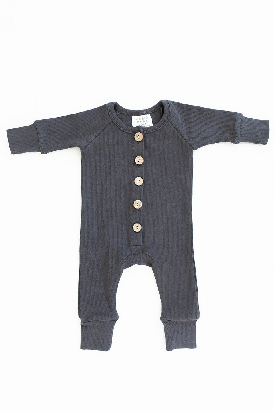 Baby Romper with Wooden Buttons in Dusty Charcoal Color
