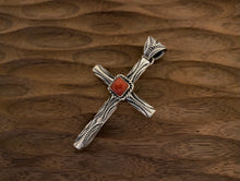 Load image into Gallery viewer, Pendant - stamped cross pendant with coral center
