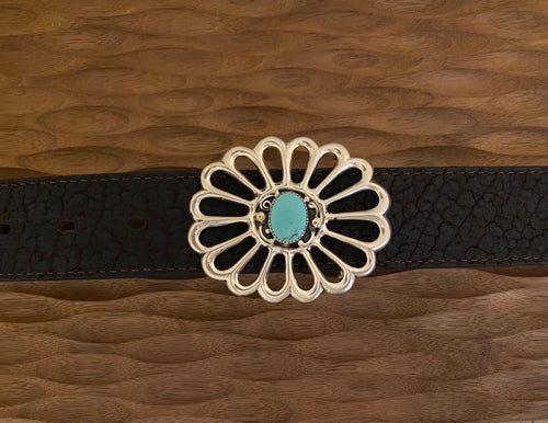 Belt buckle with turquoise