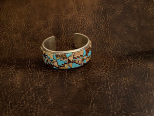 Inlay - cuff bracelet. Navajo made by Tommy Jackson.