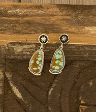 Load image into Gallery viewer, Earrings - Kingman teal turquoise earrings on post