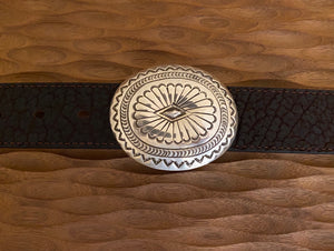 Belt buckle - sterling silver stamped.