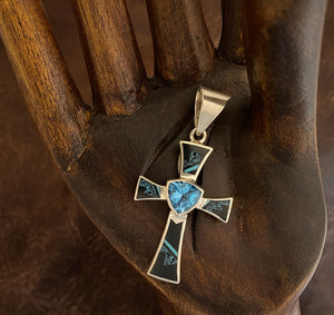 Inlay - cross pendant with blue topaz center