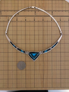 Inlay - turquoise and black jade necklace