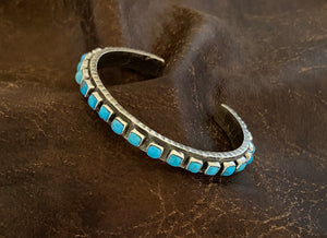 Bracelet - single row turquoise cuff bracelet