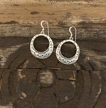 Load image into Gallery viewer, Earrings - Dangle round hoop earrings with stamping