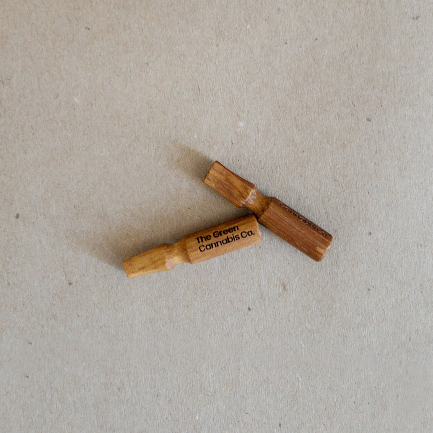 Two Hand-Carved Wooden Filter Tips